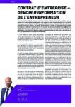 Contrat d'entreprise – Devoir d'information de l'entrepreneur